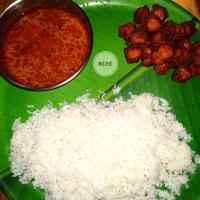 Rice with Tomato Rasam and Fried Soyachunks