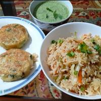veg rice,  potato kebab,  mint chutney