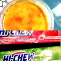 Creme brutele and hi chews apple and strawberry