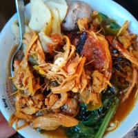 Mie ayam - Noodle chicken soup Indonesian Style.