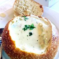 Boudin's sourdough clam chowder bread bowl soup