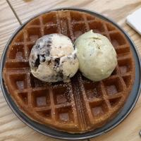 Brown butter sourdough waffle with ice cream...