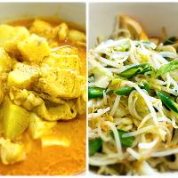 Dinner time: chicken curry with potatoes and tofu + stir-fry bean sprouts with fish cake and snap-beans. Lets have dinner