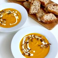 Roasted pumpkin soup with home sourdough bread