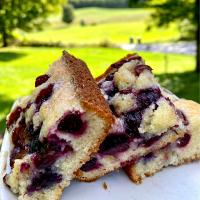 Blueberry and cherry topped almond cake.