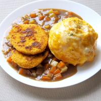 Curry omlette rice with vegetarian pork chop
