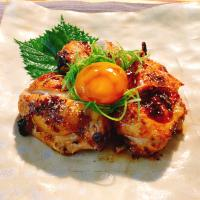 Broiled Marinated Chicken, Soy-Preserved Egg York (鶏の幽庵焼き 卵黄の醤油漬けのせ)