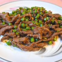 Beef strips with green beans