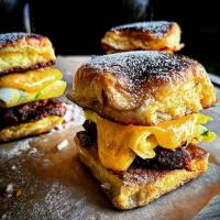 French Toast Sliders with bacon, chived egg, and melty cheese