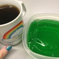 Green jello and a coffee with light maple syrup