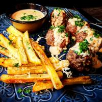 Sheet Pan Meatball Steak Frittes