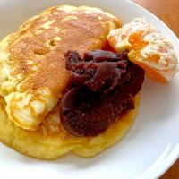 Pancake with mandarin orange and red bean paste, いただきます