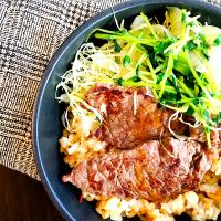 Beef and garlic fried rice
