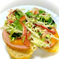Ham, Cheddar Cheese and Veggies Open-Faced Sandwiches