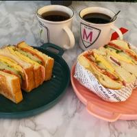 Bagel and club sandwich