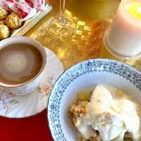 Apple crumble and coffee after tea