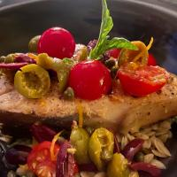 Swordfish with Orzo Pistachios and Olives