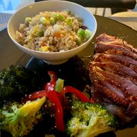 5 spice Duck Breast with Fried Rice and Broccoli Red Pepper Stir Fry