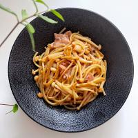 Brown butter miso pasta with mushrooms and truffle ham