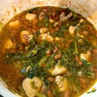 Chicken, beans and collard greens soup