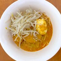 Singaporean laksa (la mian) for dinner with sprout beans, egg and smoking chicken. Lets have dinner.
