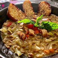 Cabbage, Lentil and Sausage Soup with Parmesan Croutons