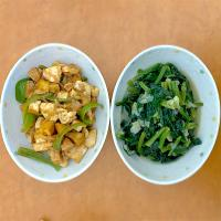 Dinner with stir-fry spinach and chicken-tofu-tempe in tomato sauce with p-man. いただきます