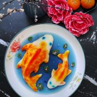 Koi fish jelly in blue pea pond