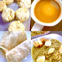 Butter coffee,biscuits,tuna and cucumber wraps,French onion ramen soup
