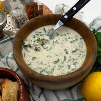 tahini soup with mint and dill