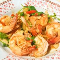 Stir Fried Basil with Black Tiger Shrimp