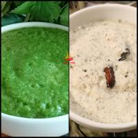 Green & White chutney-  coriander and coconut chutney. vibrant colour, hot n spicy chutney recipe.