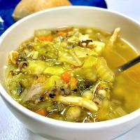 Chicken and Vegetable Soup with Fregula Pasta and Wild Rice