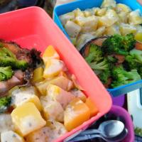 Salmon garlic butter,Vege & Potato for Picnic