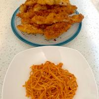 Spaghetti and panko crusted chicken