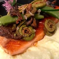 Seared Salmon over Leek Purée with Fiddlehead Fern's, Morels and Snap Peas
