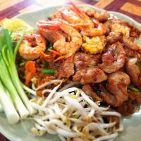 Pad Thai with Prawns and Marinated Pork.