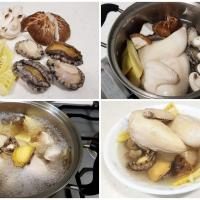 chicken soup with abalone, Spring bamboo shoot and mushrooms
