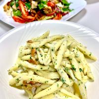 Handmade Trofie Pasta with Ricotta and Basil, Oven Roasted Chicken Salad
