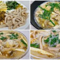 酸菜羊肚米粉汤 - rice vermicelli soup with sheep tripe, pickled mustard greens, bamboo shoot tips and perilla leaves.