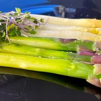 White and Green Asparagus with a Soy Truffle Vinaigrette