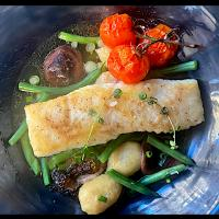 Halibut with Gnocchi, Green Beans, Morels and Shiitake Mushrooms with a Mushroom Consommé